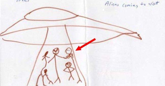 Niños muestran dibujos de aliens que los abdujeron