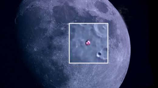 Nave con unos masivos propulsores grabado mientras tránsita cerca de la Luna
