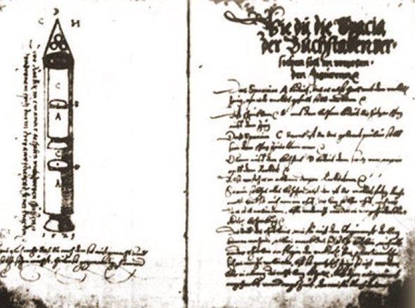 El primer manuscrito con descripciones de cohetes de combustible líquido, publicado en el siglo XVI