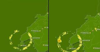 Misteriosa Anomalías en un radar meteorológico de Suiza