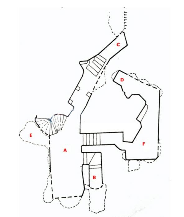 Un mapa que ilustra más o menos la disposición de la Cividale Hipogeo