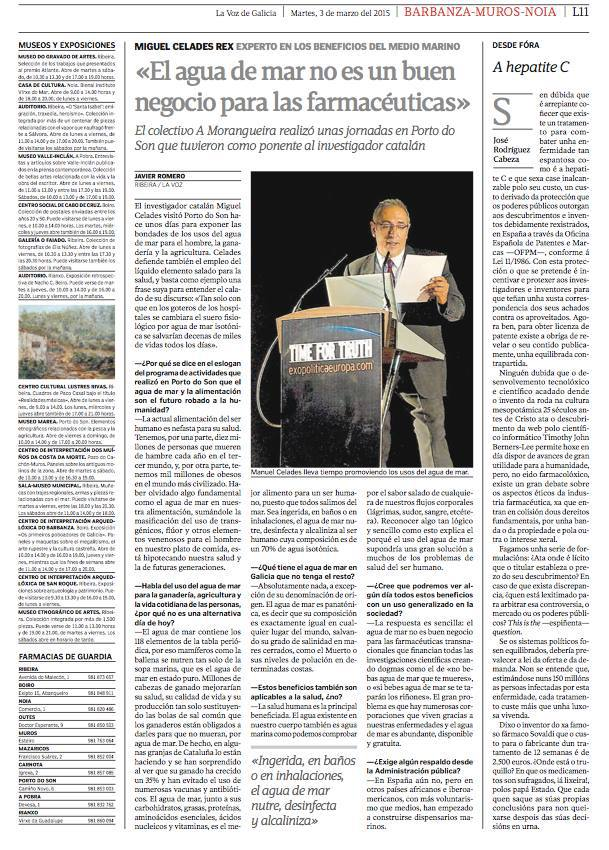 «El agua de mar no es un buen negocio para las farmacéuticas» en La Voz de Galicia por Miguel Celades