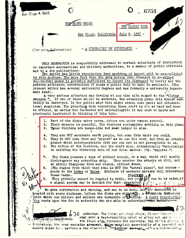 Documentos OVNI desclasificados del FBI