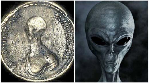 Monedas antiguas ¿Alienigenas coexisten con los humanos desde hace siglos?