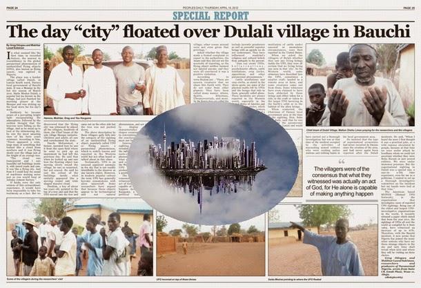 Habitantes de una aldea ven una ciudad flotante en el cielo en Nigeria