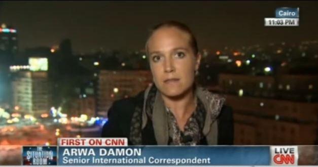 Falla holográfica ojos en la periodista Arwa Damon de la CNN. Párpados transparentes