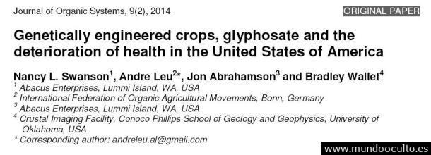Estudio estadounidense establece una posible correlación entre el aumento de las enfermedades crónicas y el incremento en el uso del glifosato y de los cultivos transgénicos