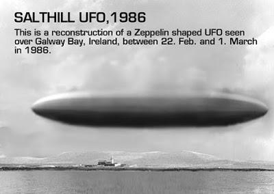 Irlanda Avistamiento OVNI en Salthill ha sido recordado Por Roger Marsh Ilustración del testigo....