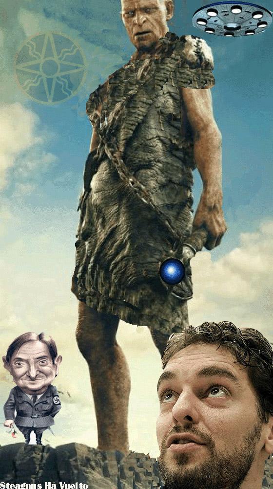Doc Horlock con un gigante Anunnaki en una base secreta