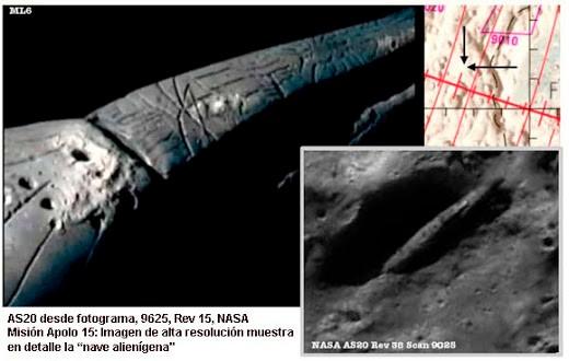 Apolo 20: Nave espacial extraterrestre y cuerpos …en la Luna