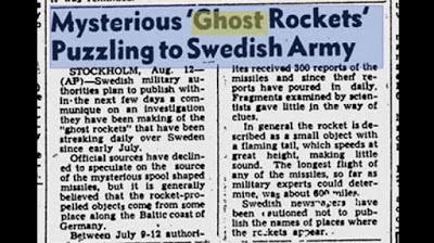 "Oleada OVNI 1946 – ""Cohetes fantasma"" sobre Escandinavia"