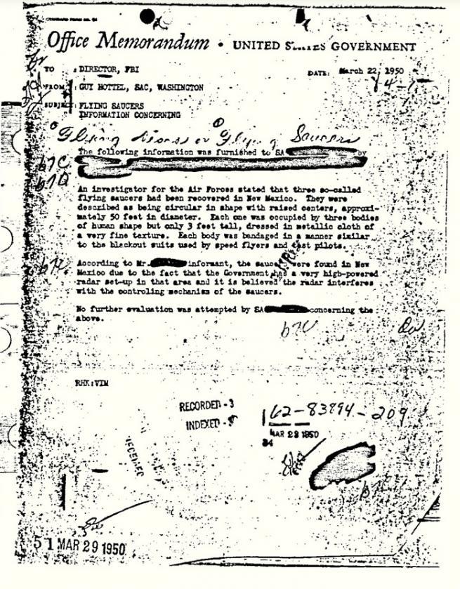 El FBI publica memo que prueba que se hallaron extraterrestres en Roswell