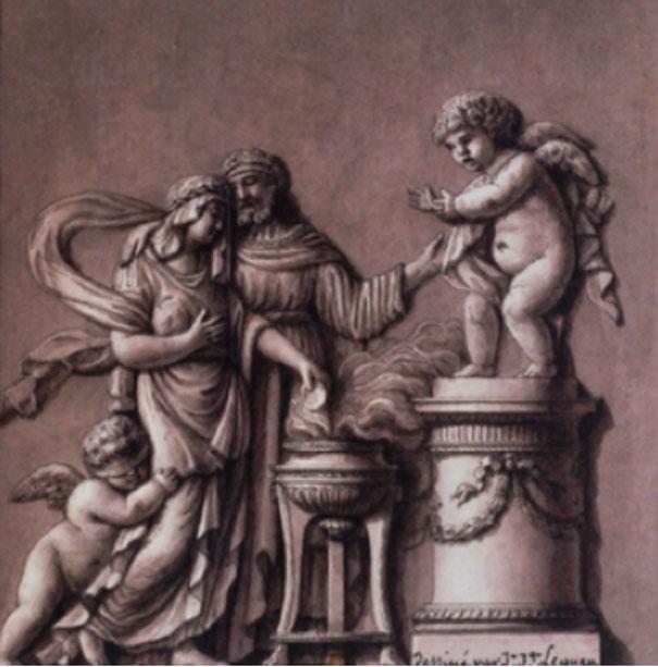 """""""Cinyre, prêtre de Vénus, et Myrrha"""" (Cinire, sacerdote de Venus, y Mirra). (Dominio público)"""