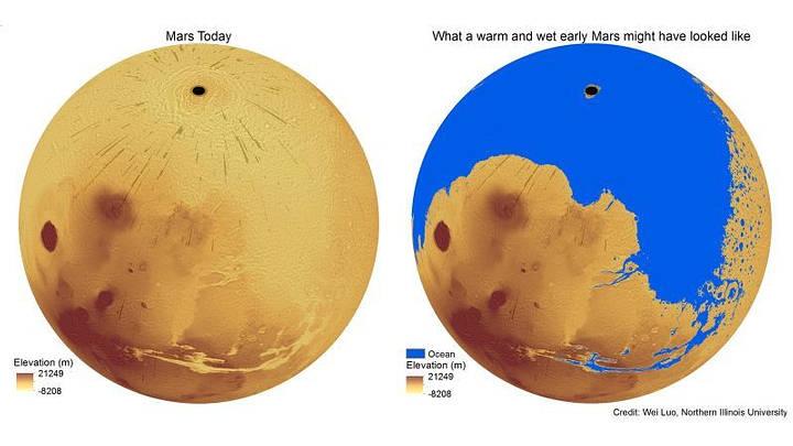 En Marte hubo tanta agua como la mitad de los océanos de la Tierra, según un estudio