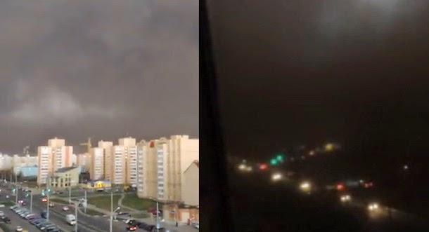 Pánico en una ciudad en Bielorrusia, se hace de noche en pleno día