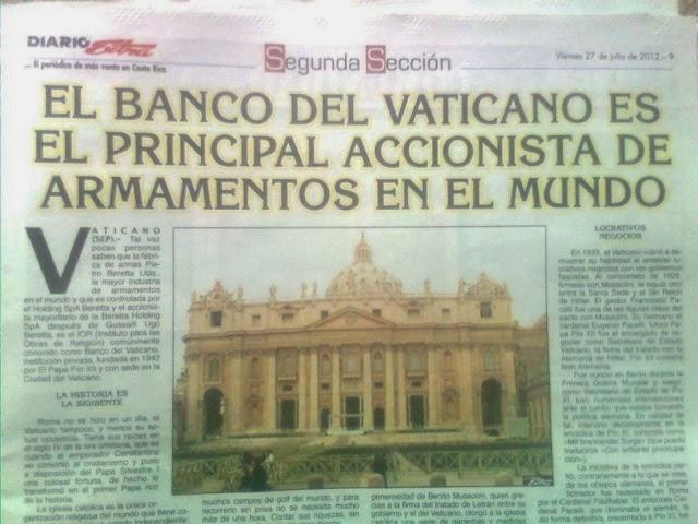 El Banco del Vaticano es el principal accionista de la mayor industria de armamentos en el mundo.