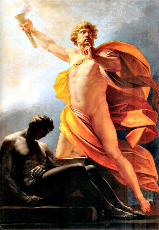Prometeo lleva el fuego a la humanidad (ca. 1817). Óleo obra de Heinrich Friedrich Füger (1751-1818). (Dominio público)