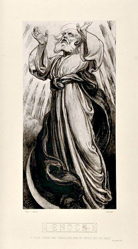 Enoc es apartado de la muerte y 'transportado' al cielo. Reproducción de una ilustración realizada en 1877 por F. J. Shields. (Wellcome Images/CC BY-SA 4.0)