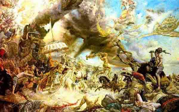 hindu gods battle