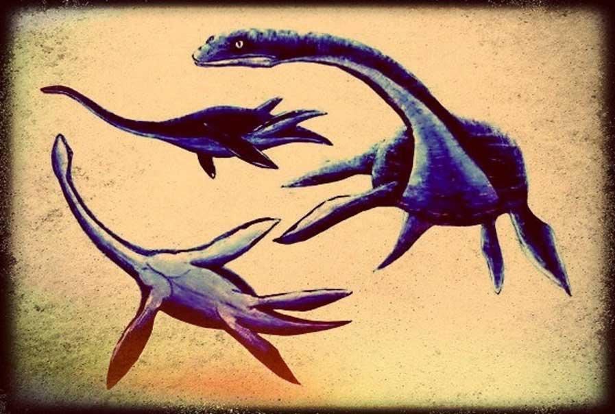 Representaciones artísticas de plesiosaurios (Legendz Collective)