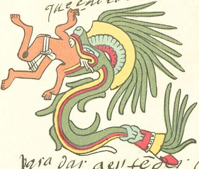 Quetzalcóatl bajo la forma de serpiente emplumada, tal y como aparece representado en el Códice Telleriano-Remensis. (Dominio público)