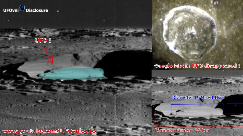 Un gran OVNI oculto en el borde del crater Manilius en la luna