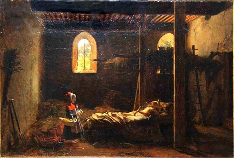 """""""Caperucita Roja"""", óleo de François Fleury-Richard pintado en 1820. (Dominio público)"""