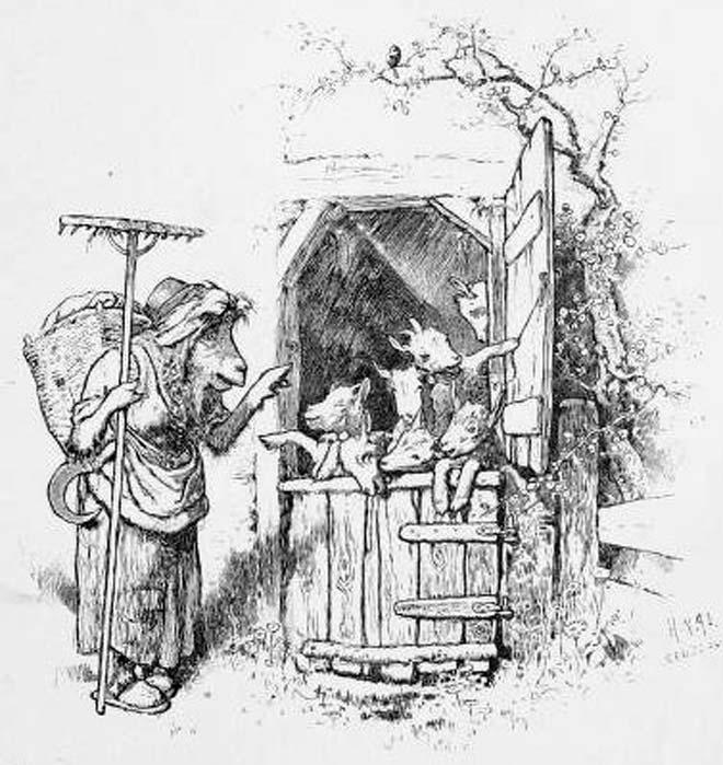 """Ilustración de """"El lobo y los siete cabritillos"""" – una variante del cuento de"""