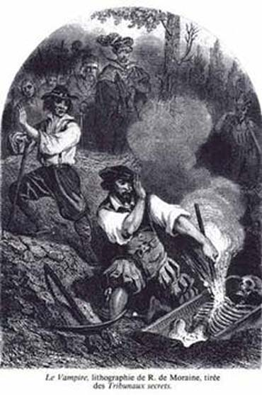 """""""Le Vampire"""", litografía de R. de Moraine, 'Les Tribunaux secrets' (1864) Wikimedia Commons"""