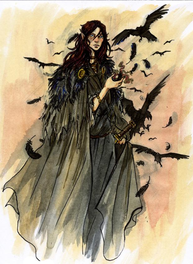 Daoine Sidhe, es una especie de sociedad élfica de los cuentos populares inglés. Ellos siempre visten de negro y viajan con cuervos