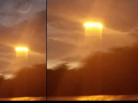 Se capturan brillantes esferas arriba y rayos de luz debajo de la nube sobre el río Missouri, EE.UU.