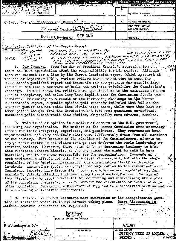 """LA CIA CREÓ LA ETIQUETA """"CONSPIRACY THEORISTS"""" EN 1967 PARA ATACAR A CUALQUIERA QUE DESAFÍE LA NARRATIVA """"OFICIAL"""""""