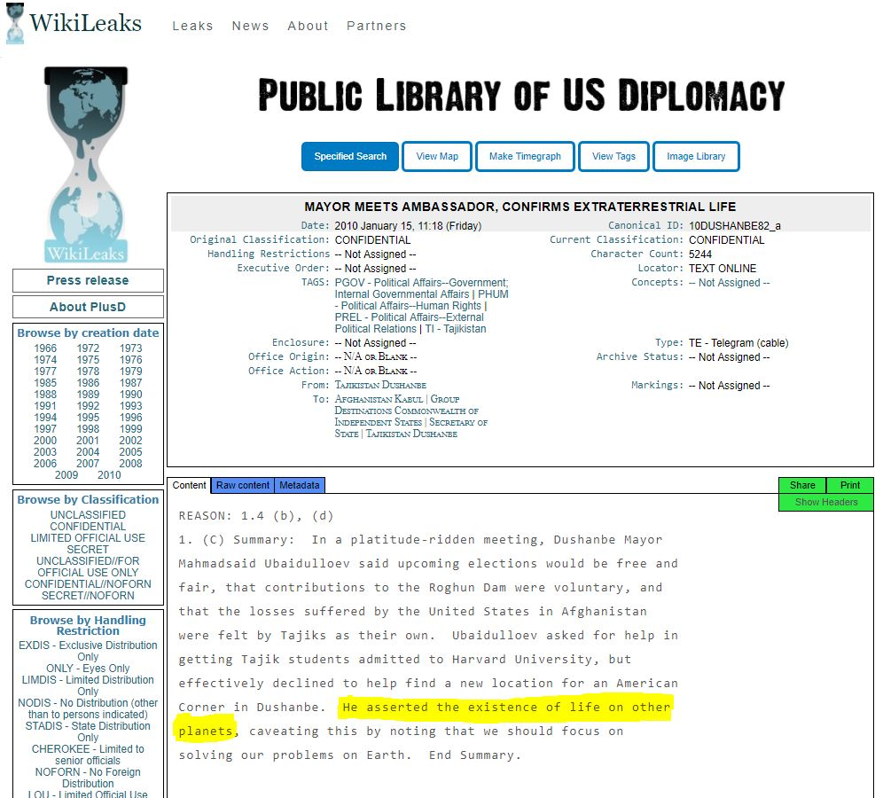 El mensaje filtrado de WikiLeaks confirma la vida extraterrestre en otros planetas