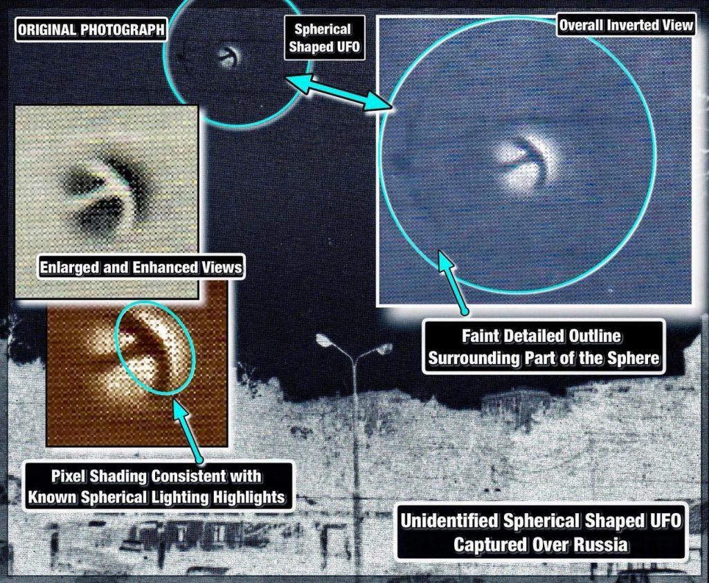 Esta foto nunca antes vista de un OVNI con forma de balón de fútbol con un alienígena de tres ojos a bordo ha convencido a un experto de que es REAL