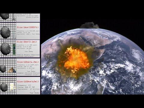 Comparación de impactos diferentes asteroides