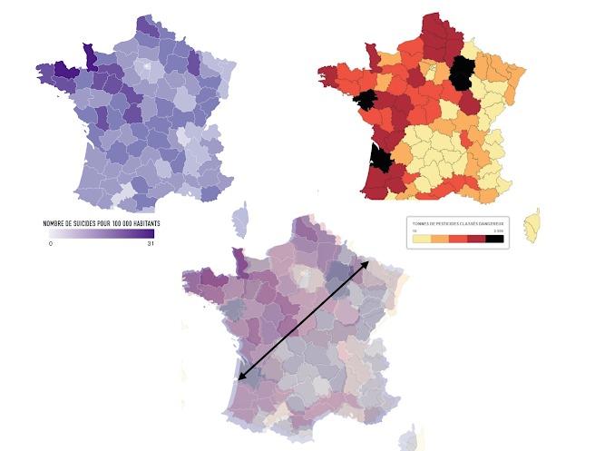 Francia: las extrañas coincidencias entre el mapa de suicidios y el uso de plaguicidas