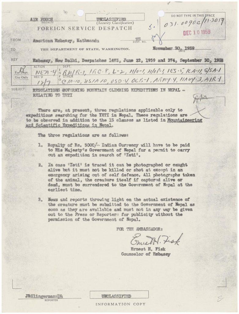 ¿EEUU sabe sobre la existencia del Yeti? Documento gubernamental aconsejaba a los cazadores no matarlo