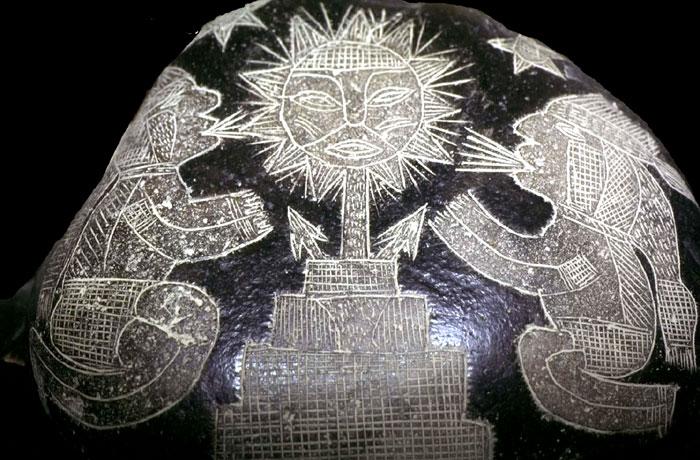 Como sabían los artíficies de las Piedras de Ica (Perú) de la cohexistencia de Hombres junto con animales prehistóricos?