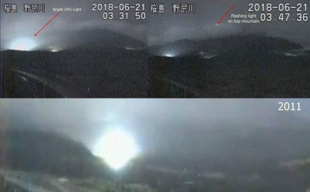 Extrañas Luces capturadas en el monte Sakurajima similares a las luces ovni de 2011 en Japón