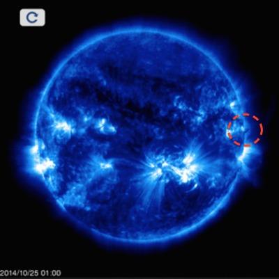 Ovni del tamaño de la tierra fotografiado en el borde solar