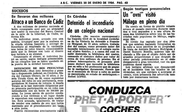 El día que un ovni sobrevoló la Carretera de Cádiz