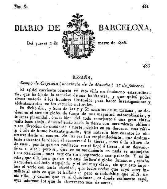 Meteorito u OVNI. El caso de Campo de Criptana en 1826