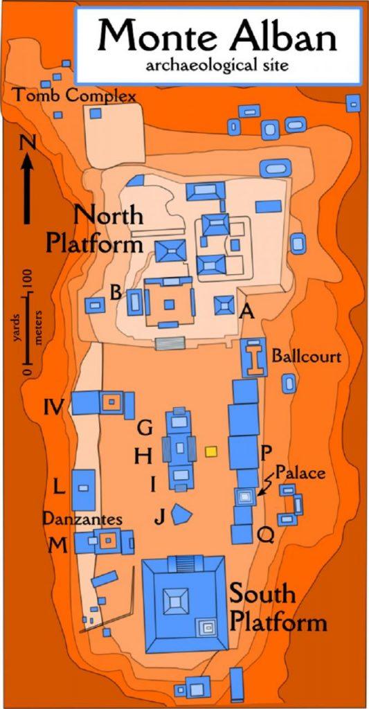 La misteriosa cima de la montaña aplanada de Monte Albán, y su ciudad antigua pirámide
