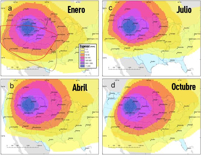 ¿A dónde llegaría la ceniza del supervolcán Yellowstone en erupción?