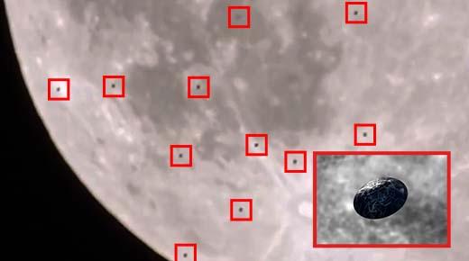 38 ovnis captados pasando por delante de la luna