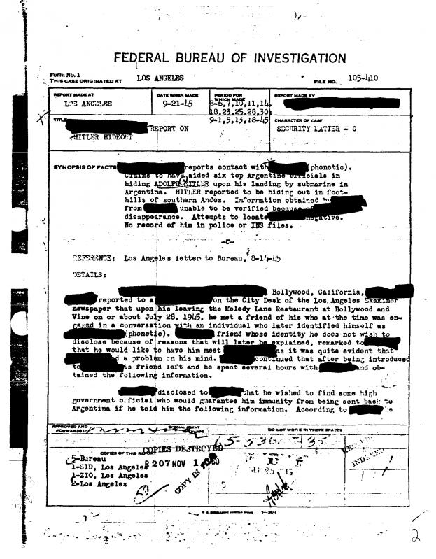 FOTO DESCLASIFICADA POR EL FBI REAVIVA EL DEBATE SOBRE SI HITLER NO SE SUICIDÓ
