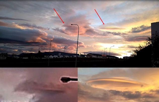 OVNI envuelto en una capa que sobresale de las nubes filmado sobre Reykjavik, Islandia