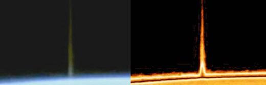Un haz de luz es disparado hacia un OVNI que estaba sobre la tierra. ¿Pelea entre dos razas?