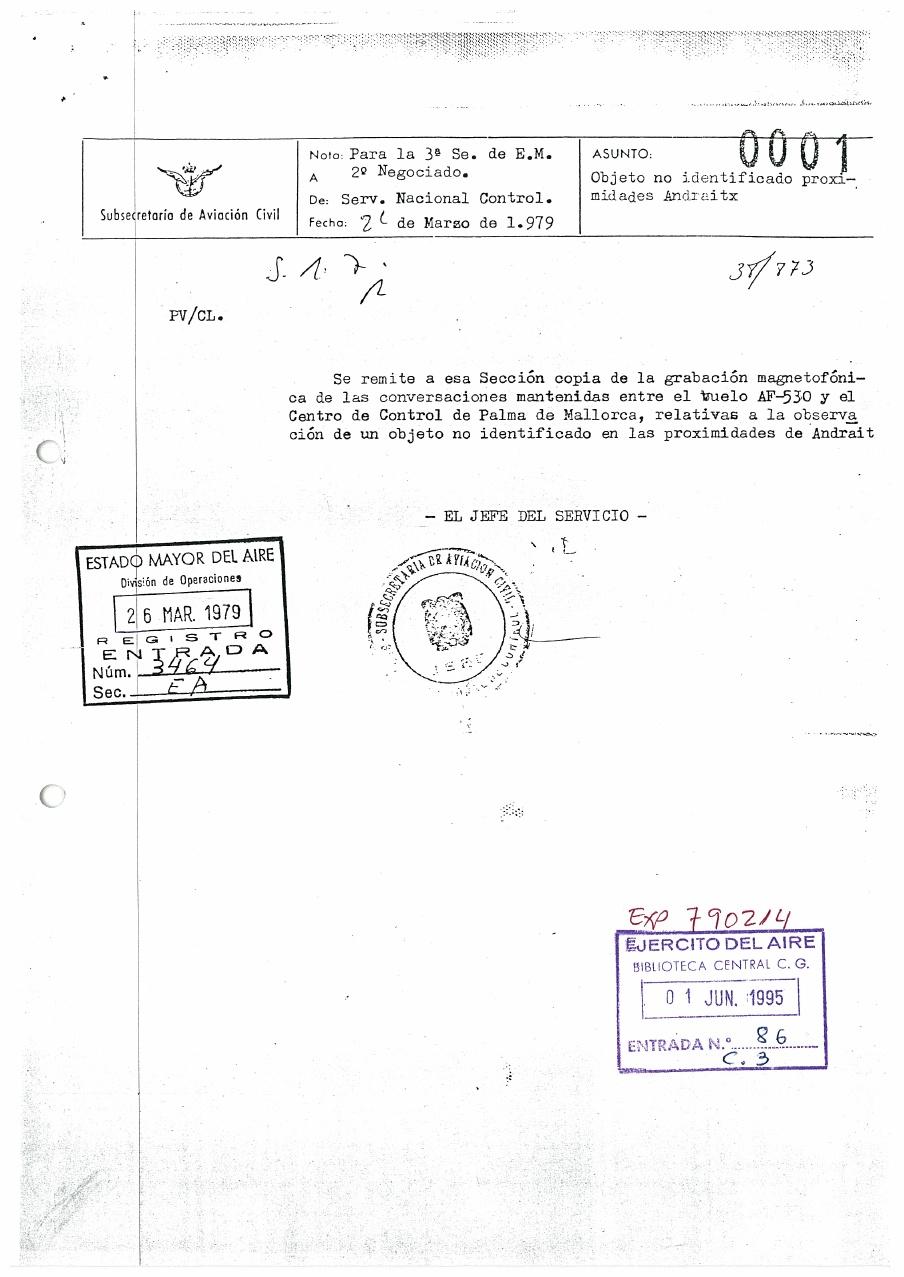 Avistamiento ovni sobre Mallorca desclasificado ejército del aire