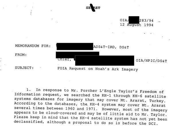 CIA utilizó satélites espías para estudiar la ubicación del Arca de Noé